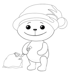 Teddy bear santa claus contours vector