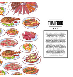 thai food poster with asian cuisine dishes vector image
