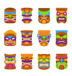 Tiki hawaii mask icon set on white background vector