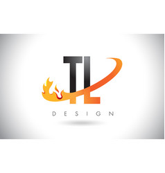 Tl t l letter logo with fire flames design and vector