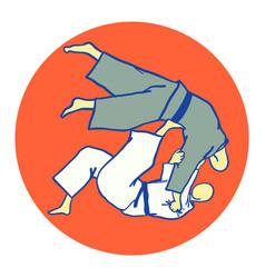 Tomoe nage judo martial art vector