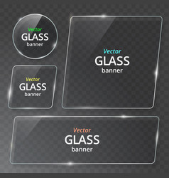 transparent glass plate mock up set see through vector image
