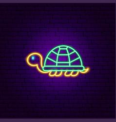 Turtle neon sign vector