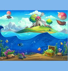 undersea world with airship on island vector image