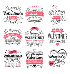 valentines day typography ribbon banners and vector image