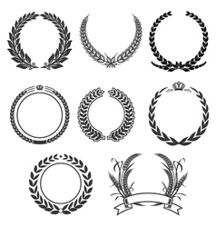 vintage laurel and wreath set elements vector image