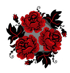 vintage ukrainian red and black roses in circle vector image