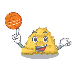 With basketball hay bale character cartoon vector