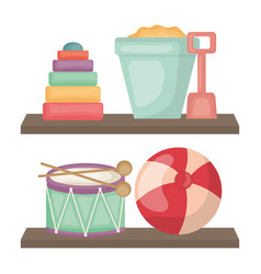 wooden shelf with toys vector image