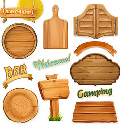 Wooden sign set template for logo emblem 3d vector