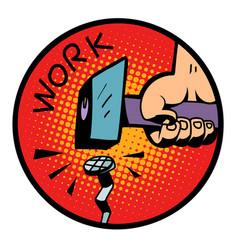 work symbol hammer nail vector image