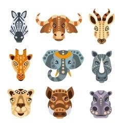 African animals stylized geometric portrait set vector