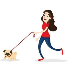 cartoon funny woman walking with dog vector image