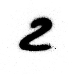 graffiti sprayed number 2 two in black on white vector image