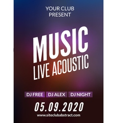 Live music acoustic poster design temple Live show vector image vector image