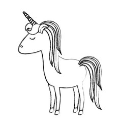 monochrome blurred silhouette of cartoon unicorn vector image