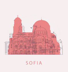 Outline sofia skyline with landmarks vector