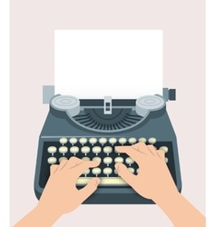 Retro manual typewriter with printing hands and vector image