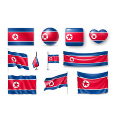 set north korea flags banners banners symbols vector image vector image