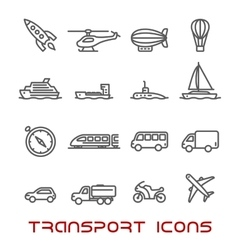 Thin line transportation icons set vector image