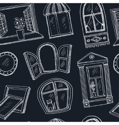 Doodle windows seamless pattern Hand drawn vector image vector image