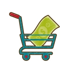 drawing shopping cart online money vector image vector image