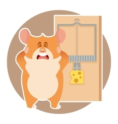 Hamster and a mousetrap vector image vector image