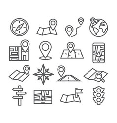 navigation and map line icons vector image vector image