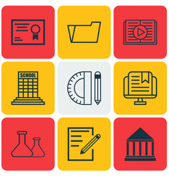 set of 9 school icons includes education center vector image vector image