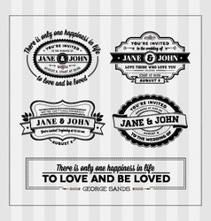 Wedding typography stamps vector image vector image