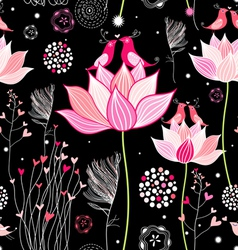 beautiful designs of flowers and birds vector image vector image