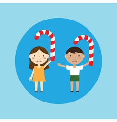 Children and Christmas candy vector image