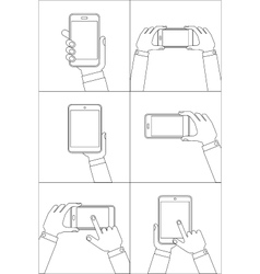 Hands holding mobile phones vector image