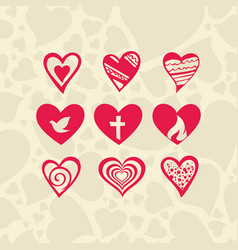 set of hearts and christian symbols vector image vector image
