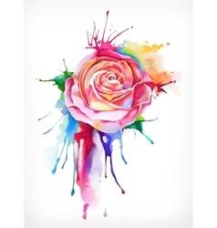 Watercolor painting rose flower vector