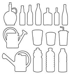 Bottle collection line silhouette vector image vector image