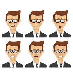 businessman with various avatar expressions set vector image