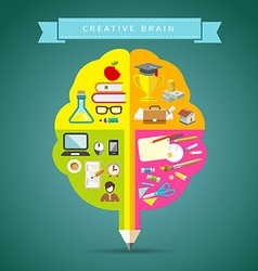 Creative Brain concepts design with business icons vector image vector image
