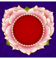 pink Rose heart frame vector image vector image