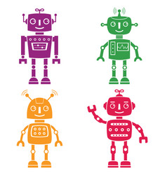 robots silhouettes set vector image vector image