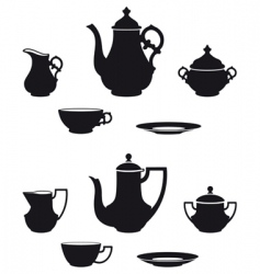 tea sets vector image vector image