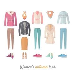 Women s Autumn Look Concept in Flat Design vector image