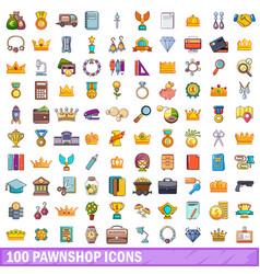 100 pawnshop icons set cartoon style vector