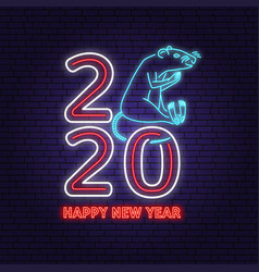 2020 happy new year neon sign with rat vector image