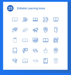 25 learning icons vector image