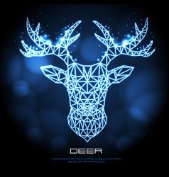 abstract polygonal tirangle animal deer neon sign vector image