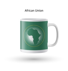 African union flag souvenir mug on white vector