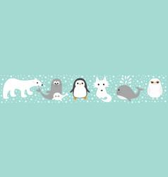 arctic polar animal set line white bear owl vector image