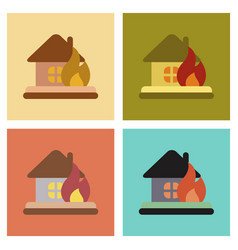 Assembly flat icons nature fire house vector