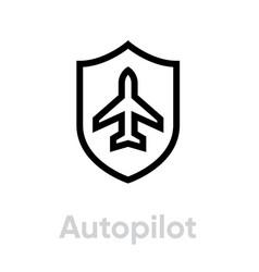 autopilot airplane icon editable line vector image